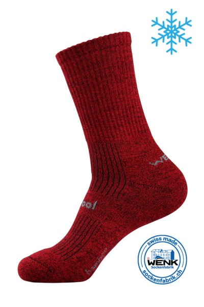 Wintersocken BamWool rot meliert